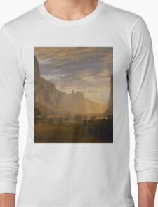 Albert Bierstadt - Looking Down Yosemite Valley, California American Landscape Long Sleeve T-Shirt