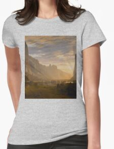 Albert Bierstadt - Looking Down Yosemite Valley, California American Landscape Womens Fitted T-Shirt