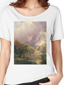 Albert Bierstadt - Rocky Mountain Landscape 1870 American Landscape Women's Relaxed Fit T-Shirt