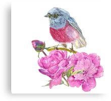 bird on a flower   Canvas Print