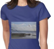 A Lone Boarder out at Sea...Lyme Regis Dorset UK Womens Fitted T-Shirt