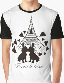 French Bulldog kissing in Paris Graphic T-Shirt