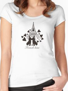 French Bulldog kissing in Paris Women's Fitted Scoop T-Shirt