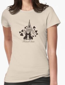 French Bulldog kissing in Paris Womens Fitted T-Shirt