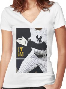 New York Yankees, run! Women's Fitted V-Neck T-Shirt