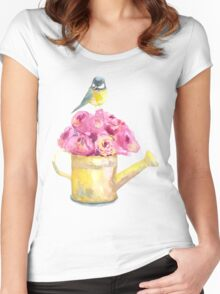 a bouquet of roses and bird  Women's Fitted Scoop T-Shirt