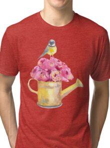 a bouquet of roses and bird  Tri-blend T-Shirt