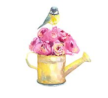 a bouquet of roses and bird  Photographic Print