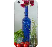 Blue glass bottle with vegetables and flowers iPhone Case/Skin