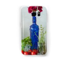Blue glass bottle with vegetables and flowers Samsung Galaxy Case/Skin