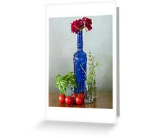 Blue glass bottle with vegetables and flowers Greeting Card