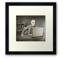 XIX century scientist with my laptop Framed Print