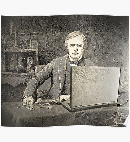 XIX century scientist with my laptop Poster