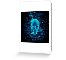 Gamer Skull BLUE TECH Greeting Card