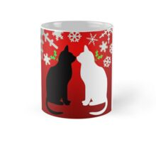cats kissing each other in xmas Mug