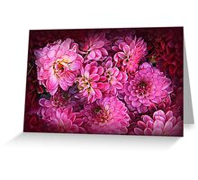 Romantic dahlias symphony in purple Greeting Card
