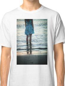 young woman in the beach at sunset Classic T-Shirt