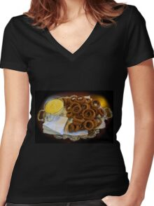 World's Best Onion Rings At Joe's Women's Fitted V-Neck T-Shirt