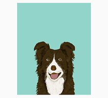 Border Collie mint pet portrait cute dog illustration chocolate brown collie down owner with border collie herding breed Classic T-Shirt