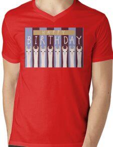 HAPPY BIRTHDAY LLAMAS Mens V-Neck T-Shirt
