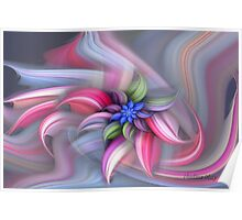 Swirling abstract flower Poster