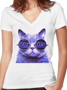 Solo Purple Cat 4 Bernie Women's Fitted V-Neck T-Shirt