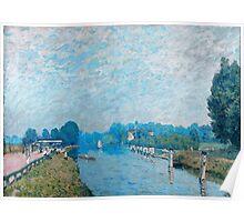 Alfred Sisley - Bords de riviere Orillas del río La Tamise a Hampton Court, premiers jours d octobre 1874 - 1874  Impressionism  Landscape  Poster