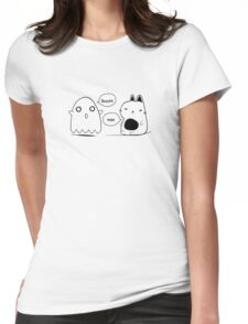 The cat and the ghost print Womens Fitted T-Shirt