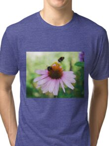 Echinacea Purpurea with Bees  Tri-blend T-Shirt