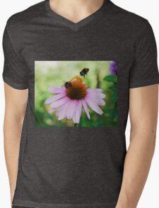 Echinacea Purpurea with Bees  Mens V-Neck T-Shirt