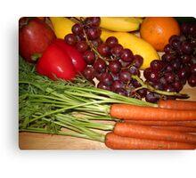 Carrots Pepper Banana and Orange Canvas Print