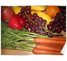 Carrots Pepper Banana and Orange Poster