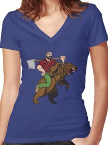 Absurdly Rugged Women's Fitted V-Neck T-Shirt
