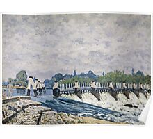 Alfred Sisley - Molesey Weir, Hampton Court   Impressionism  Landscape  Poster