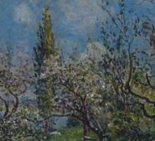 Alfred Sisley - Orchard in Spring  Impressionism  Landscape  Sticker