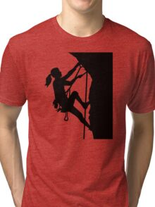 Climbing woman girl Tri-blend T-Shirt