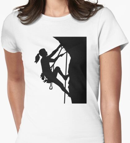 Climbing woman girl Womens Fitted T-Shirt