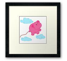 Kawaii Super Cute Flying Funny Elephant Balloons  Framed Print