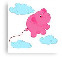 Kawaii Super Cute Flying Funny Elephant Balloons  Canvas Print