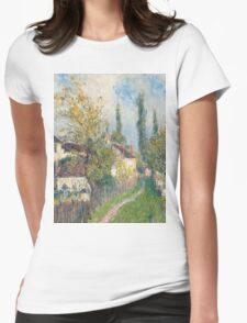Alfred Sisley -A path at Les Sablons  French Impressionism Landscape Womens Fitted T-Shirt