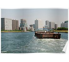 Wooden Barge in Tokyo Waters Poster