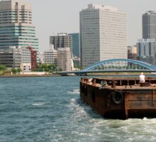 Wooden Barge in Tokyo Waters Sticker