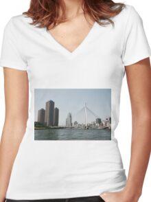 Tokyo Bridge, Japan Women's Fitted V-Neck T-Shirt