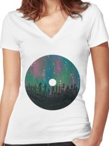 Aurora Borealis CD Design Women's Fitted V-Neck T-Shirt
