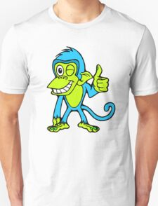 Winking Monkey (Blue and Green) Unisex T-Shirt