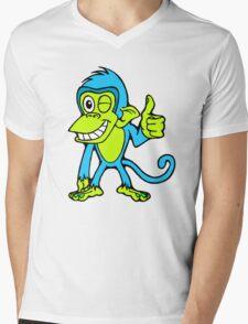 Winking Monkey (Blue and Green) Mens V-Neck T-Shirt
