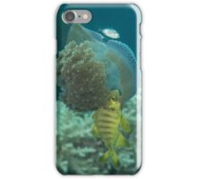 Jellyfish with Golden Trevally iPhone Case/Skin