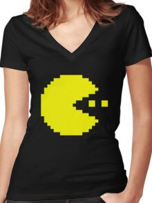 Pac Man Women's Fitted V-Neck T-Shirt