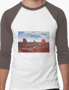 The Mittens and Merrick Butte at Sunset Men's Baseball ¾ T-Shirt