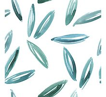 Watercolor abstract leaves blue+green Photographic Print